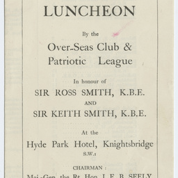 Table plan of a luncheon at the Hyde Park Hotel, Knightsbridge,.