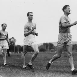 Participants in a walking race