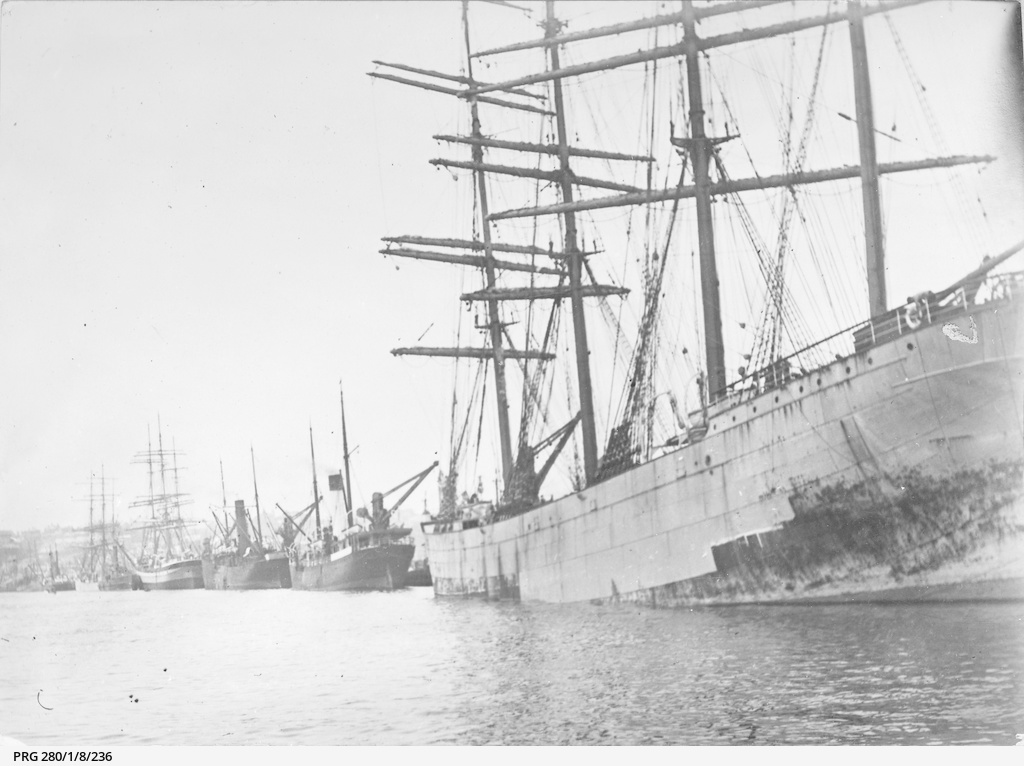 old sailing ships and steamboats in sydney harbour photograph