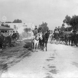Three horse drawn vehicles on the road to Onkaparinga, South Australia