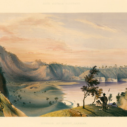 Interior of the principal crater of Mount Gambier. Sunset