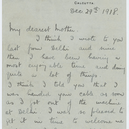 Letter from Ross Smith following World War I to his mother, Calcutta