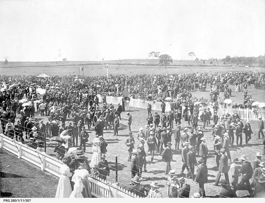 Racegoers at Oakbank racecourse