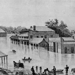 High Street in flood at Echuca in 1870