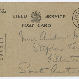Field service postcard from Ross Smith to his mother