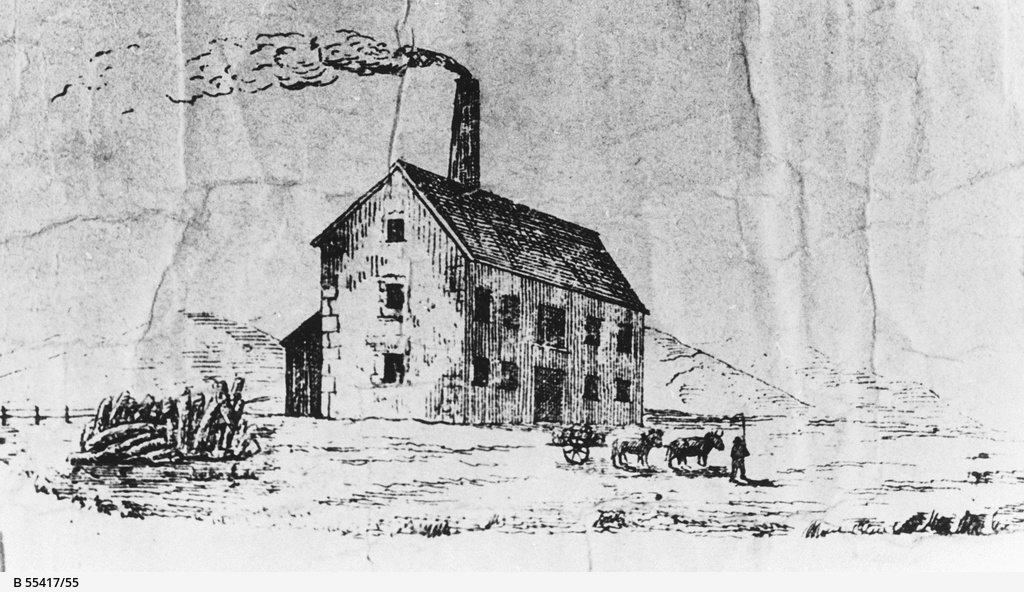 Sketch from and early plan of the Willunga Flour Mill