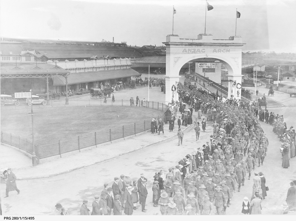 Soldiers returned from war service marching from Adelaide railway station