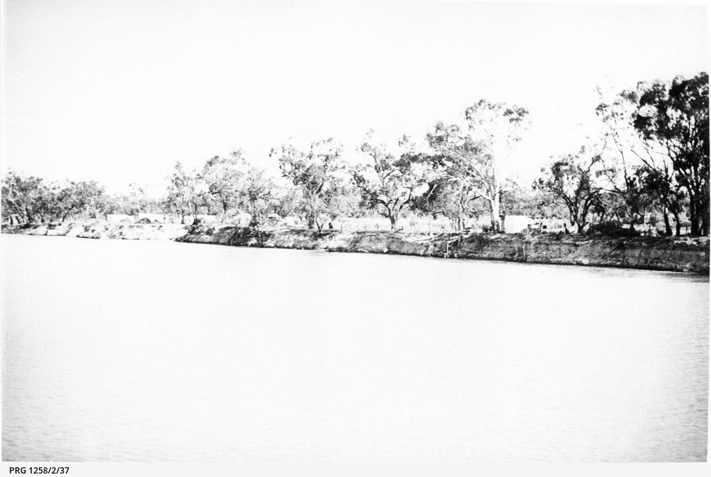 Distant view of riverfront shacks below Berri