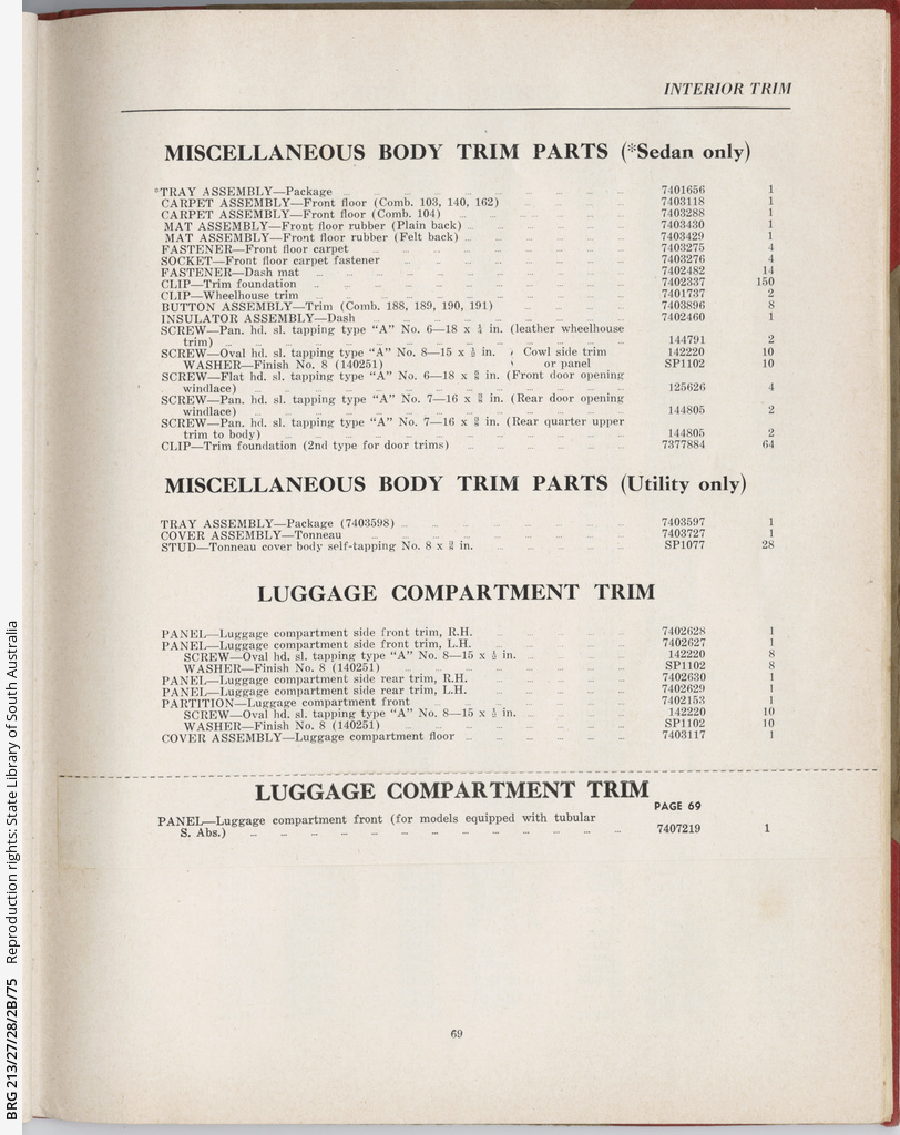 Holden 48-215: Parts and accessories catalogue • Manuscript