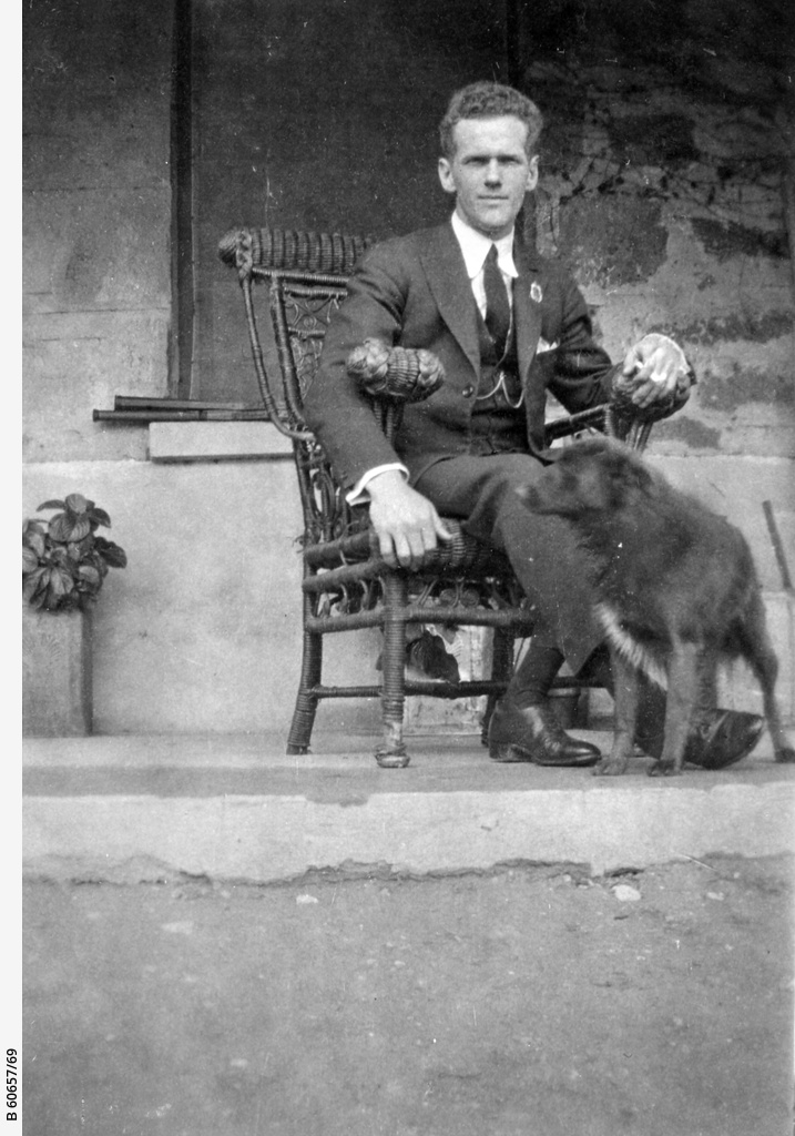 Young man on a verandah