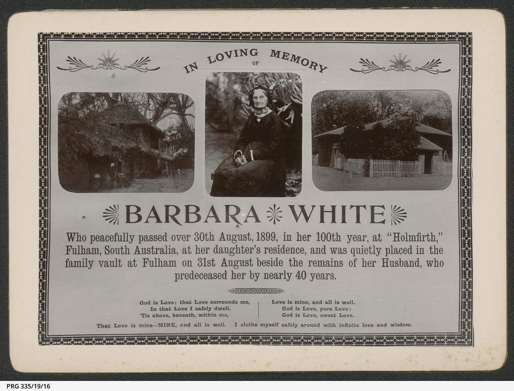 In memoriam card for Barbara White