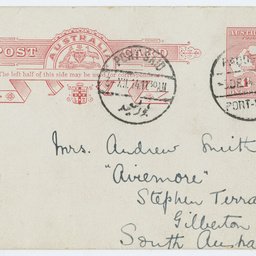 Postcard from Ross Smith to his mother, from Port Said