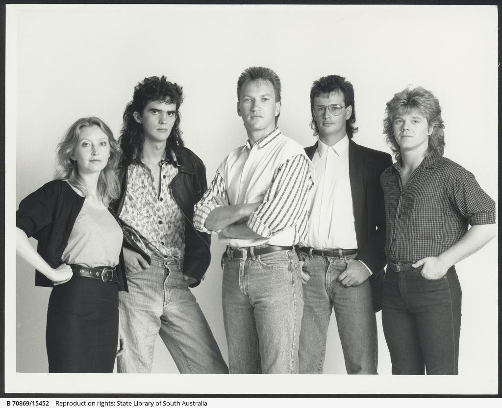 The Redgum line-up (from left) Verity Truman, Darren Deland, Hugh McDonald, Michael Spicer and Dean Pulham. The band is appearing at The Venue this week.