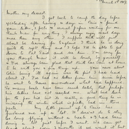Letter from Ross Smith in World War I camp, Egypt, to his mother