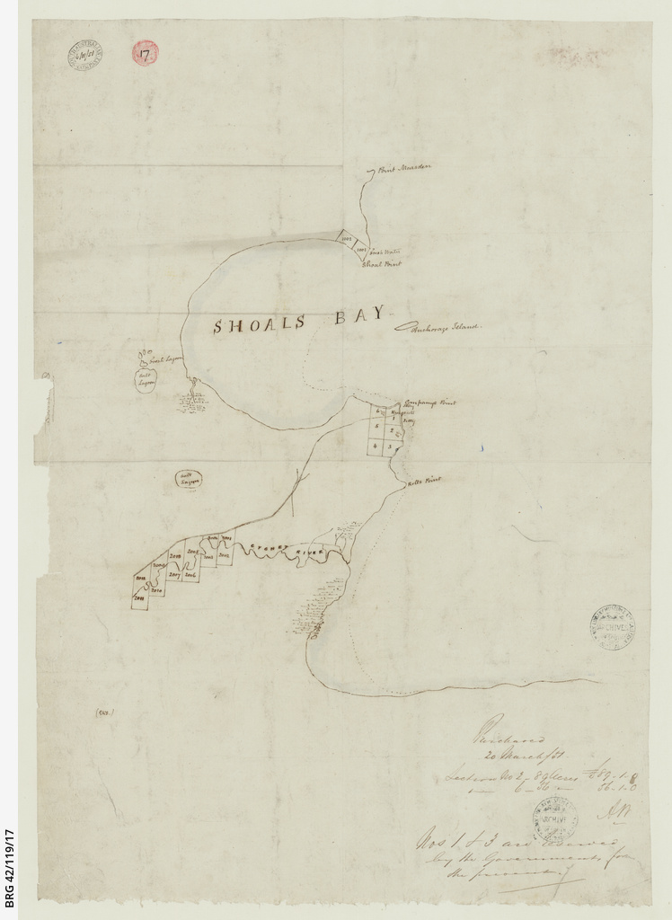 [Map showing land purchases near Kingscote, Kangaroo Island] [cartographic material]