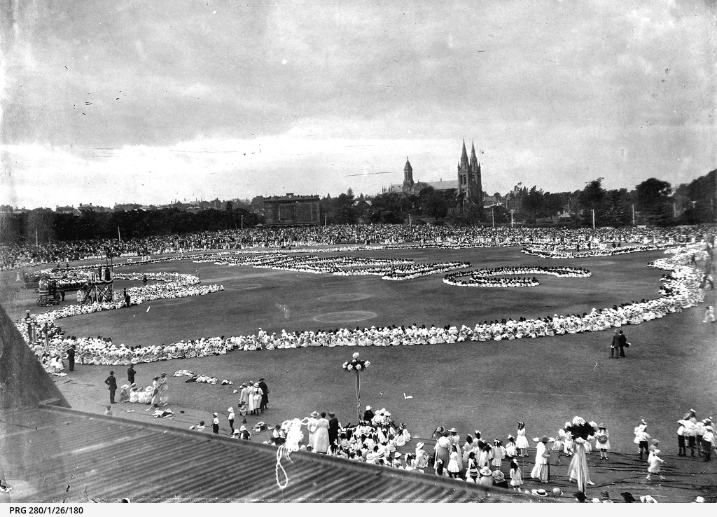 Children performing in a display held at Adelaide Oval
