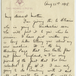 Letters from Ross Smith during World War I to his mother, Cairo