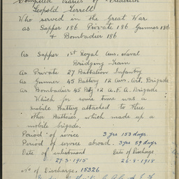 Notebook of Frederick Leopold (Leo) Terrell