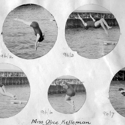 Annette Kellerman demonstrating her diving skills at Glenelg baths.