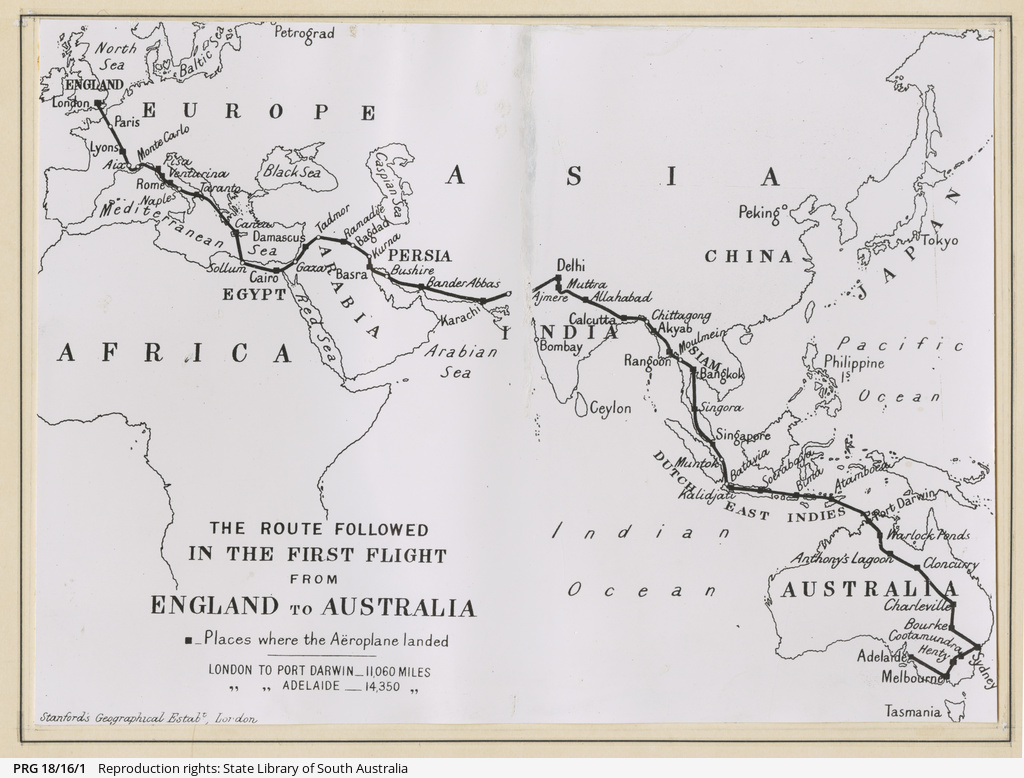 Map of the London-Adelaide flight.