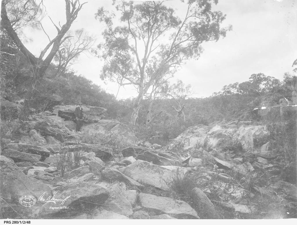 Rocky terrain described as the waterworks site