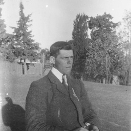 Young man in garden