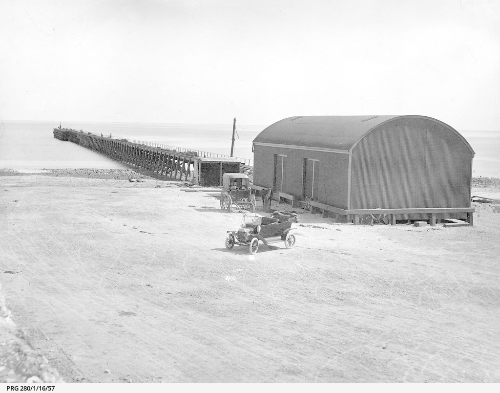 New jetty and goods shed at Port Hughes, South Australia