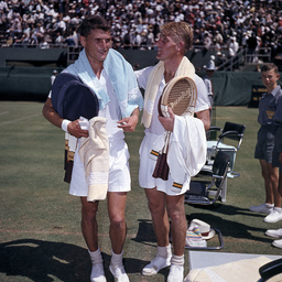 Vic Seixas and Lew Hoad at the Davis Cup, Adelaide