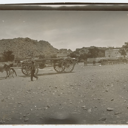 Wagons moving past a settlement