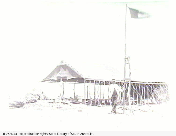 Flag pole and shelter at the Teetulpa gold field