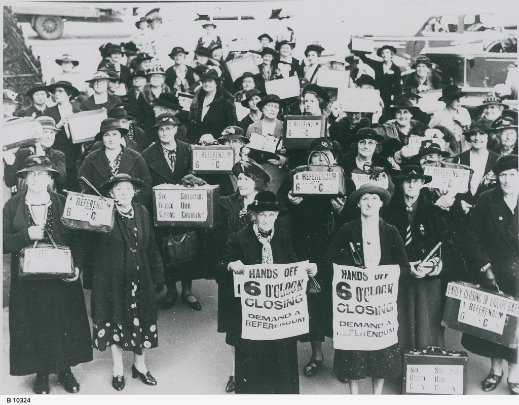 "A ""Suitcase Parade"" of women opposed to changes to six o'clock closing"