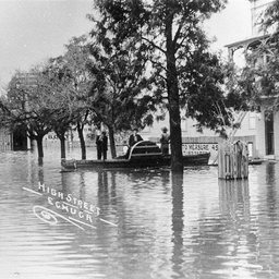 High Street Echuca in flood with Commercial Hotel under water