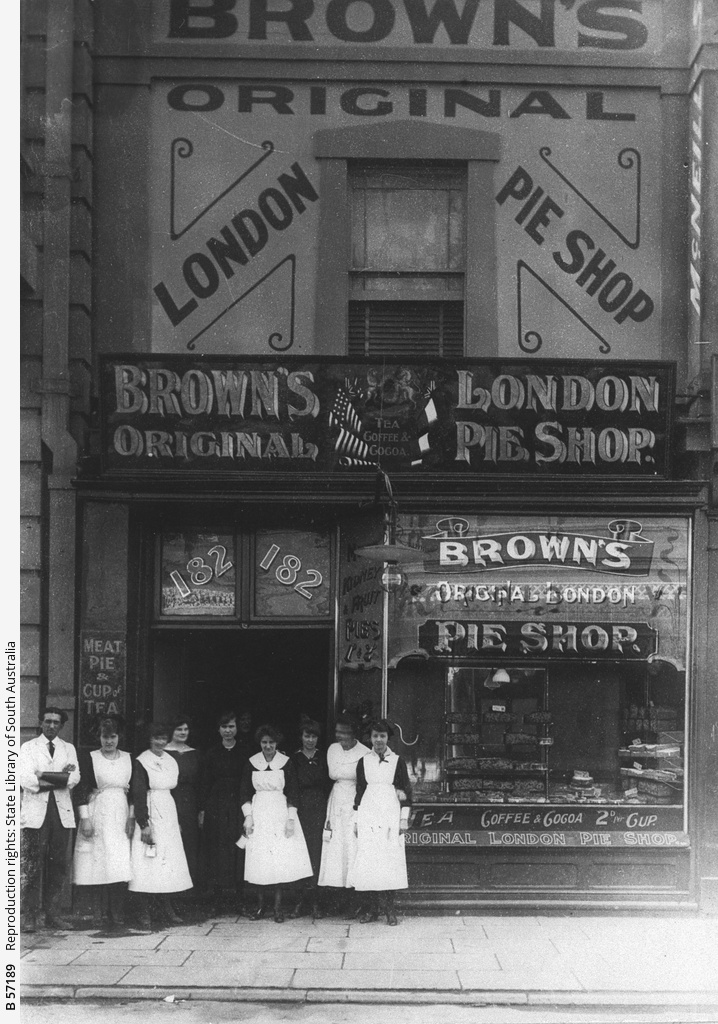 Premises and staff of Brown's London Pie Shop