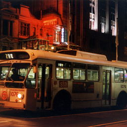 An STA bus travelling along King William Street