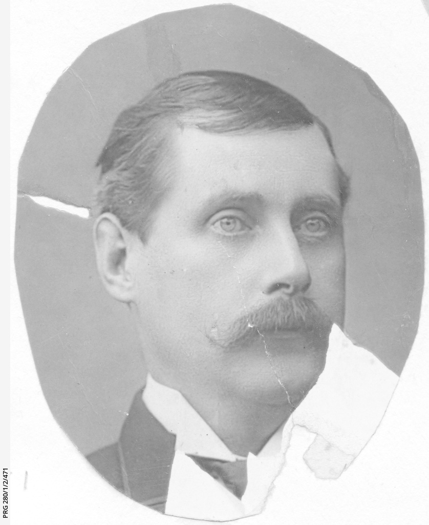 Studio view of an unidentified man, head only