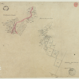 [Tracing showing sections in Hundreds of Kanmantoo and Onkaparinga (parts)] [cartographic material]