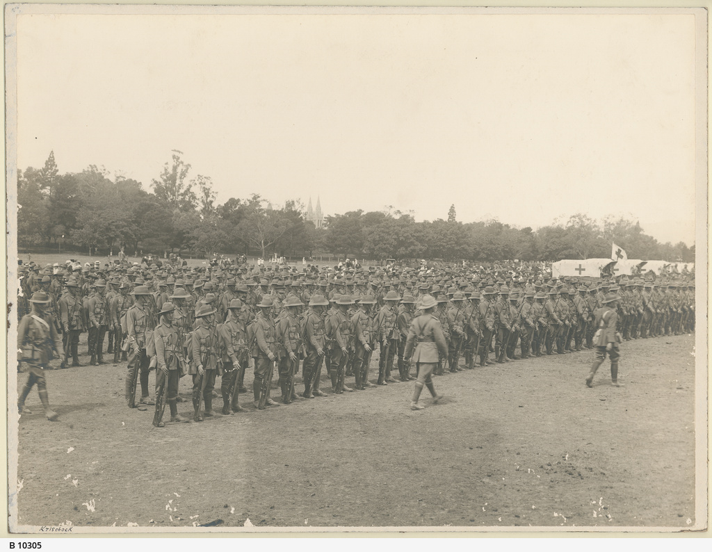 Infantry on parade in Parkland