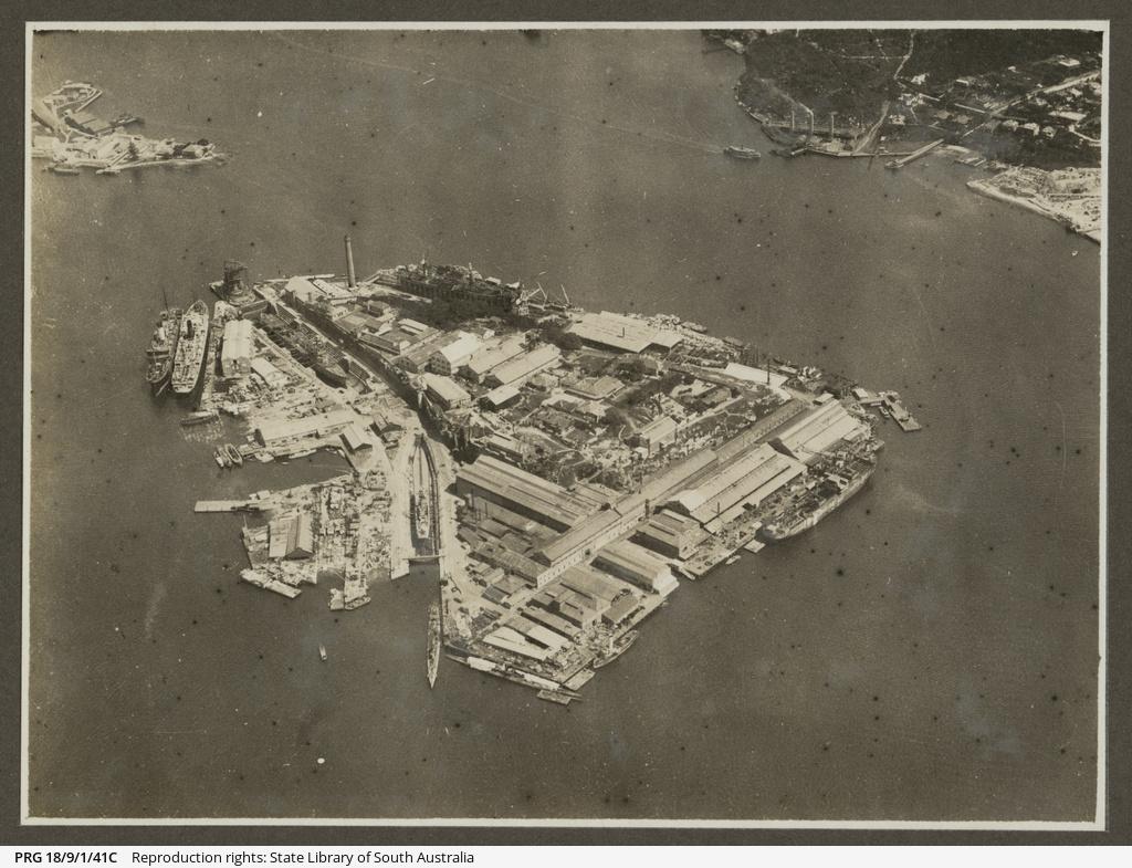 Aerial view of Cockatoo Island, Sydney.
