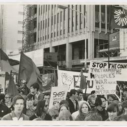Crowd marching at Vietnam War Moratorium rally