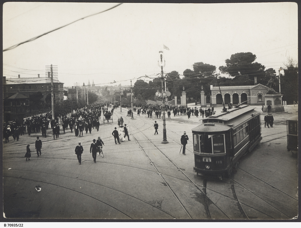 Tram in the King William Street and North Terrace intersection