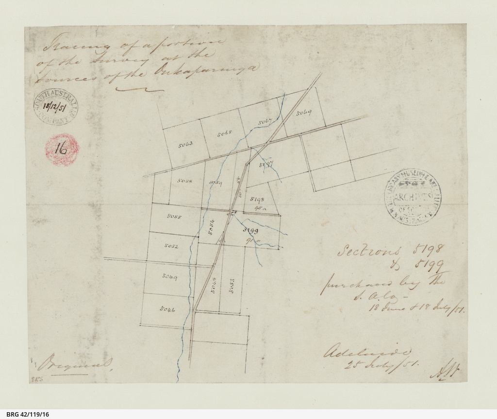 Tracing of a portion of the survey at the sources of the Onkaparinga [cartographic material]