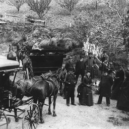 Picnic party with two horse drawn vehicles