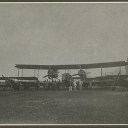 Vickers Vimy and crew at hangar, Thailand.