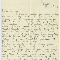 Letter from Ross Smith during World War I to his mother, Aboukir, Egypt
