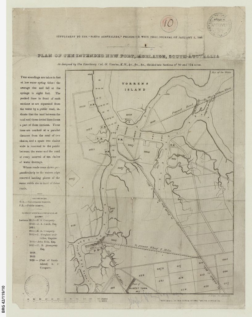 Plan of the intended new port, Adelaide, South Australia [cartographic material] / by J. Dean