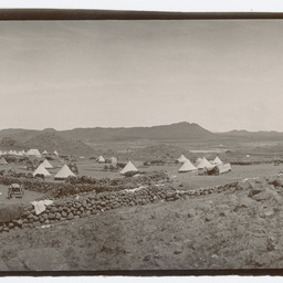 Army camp on dry plain