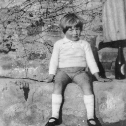 Boy seated on a low wall