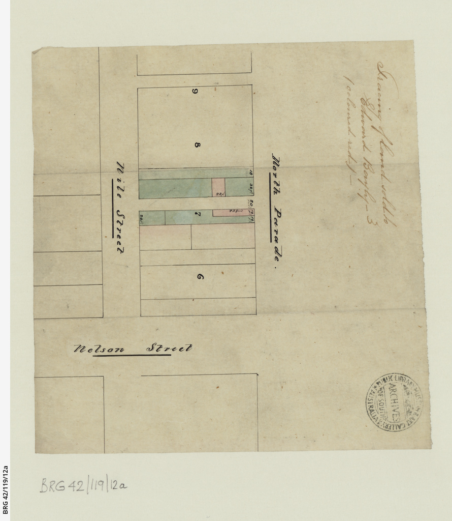 Tracing of land sold to Edward Bayley [cartographic material]
