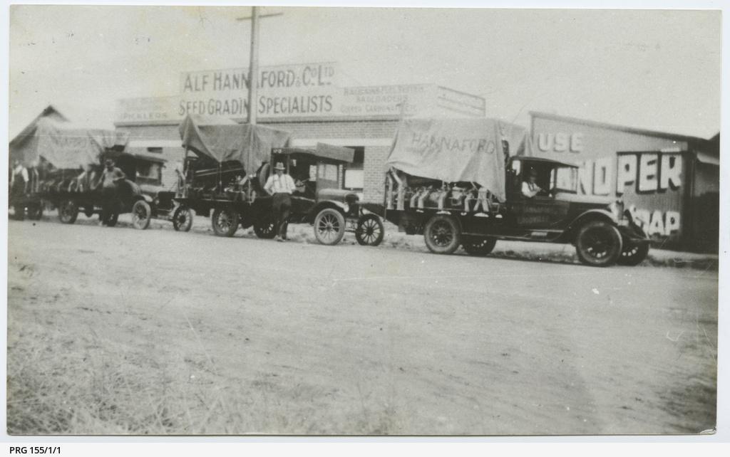 Trucks outside Alf Hannaford and Co. Ltd.
