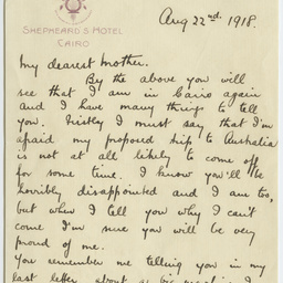 Letter from Ross Smith during World War I to his mother, Cairo